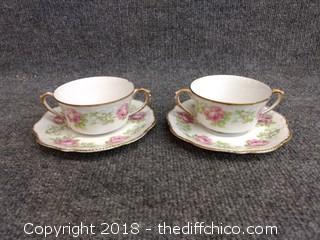 Limoges Cobonet France Teacups and Saucers (2)