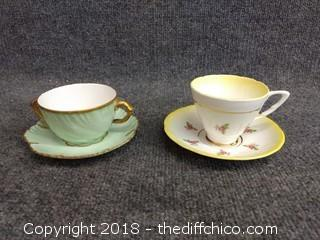 Royal Stafford Bone China Teacup and Saucer and A.L France Teacup and Saucer