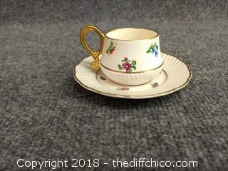 CW Hand Painted Fine Bone China Teacup and Saucer