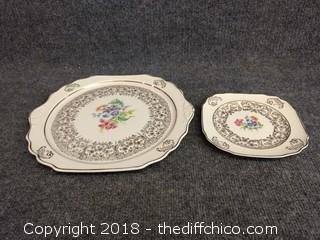"""The Harker Pottery Company - 22 Kt Gold Rimmed 12"""" Platter and  7"""" Plate"""