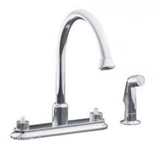 Polished Chrome Double Handle Kitchen Faucet with Gooseneck Spout and Sidespray