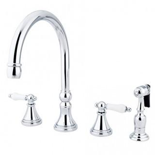 Polished Chrome Governor Widespread Kitchen Faucet with Porcelain Lever Handles
