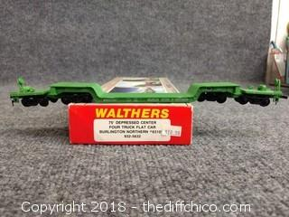 Walthers 75 ft Depressed Center Four Truck Flat Car Burlington Northern #63102 932-5632