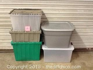 5 totes with lids