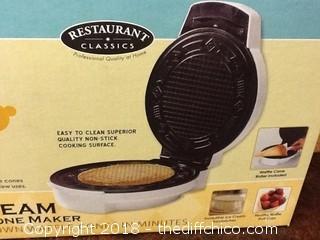 NIB waffle cone maker