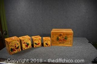 Rooster Bread Bin & 4 Piece Canister SEt