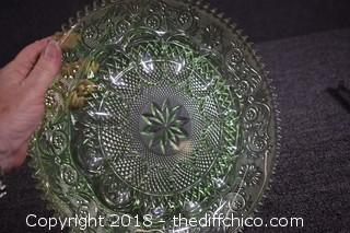 Green Tiara Glass Egg Plate