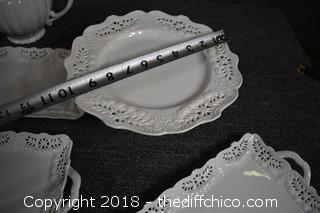 White Lace Pattern Serving Tray, Plates & Pitcher