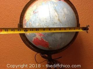 Old Replogle 12'' glass library globe