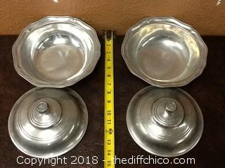 USA pewter bowls with lids
