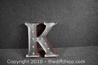 "Battery Operated LED Light Letter ""K"""