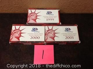 3 United States mint silver proof sets