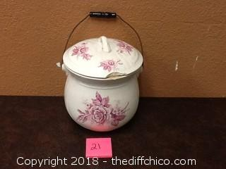 antique ironstone china pot with handle