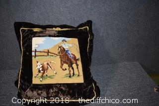 Needlepoint Cowboy Pillow