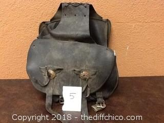 old leather saddle bags for motorcycle