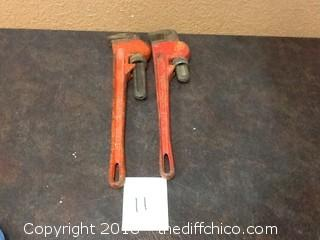 two 18'' pipe wrenches