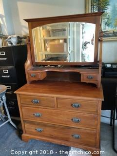 "English Dresser with Mirror 2 Piece Walnut - 42"" x 16.5"" x 65.5"""