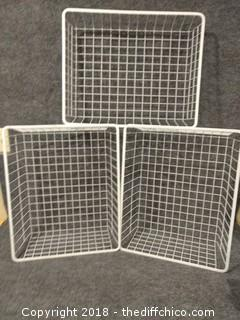 "3 Metal Baskets (1) 20.5"" x 17"" x 3.5"" (2) 20.5"" x 17"" x 7.5"""
