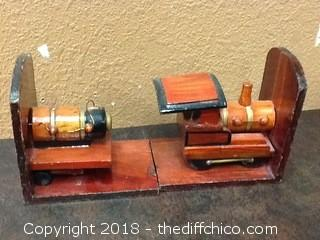 wood train book ends