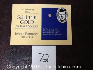 14k gold JFK half dollar