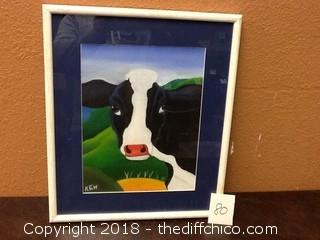 framed canvas cow picture