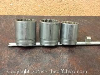 3 vintage snap-on 1/2 drive sockets