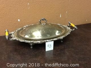 Eton silver plate CO. serving dish with lid and pyrex insert