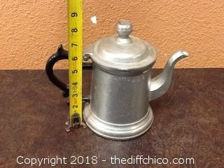 vintage pewter USA tea pot