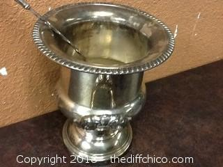 silver plated punch bowl and ladle