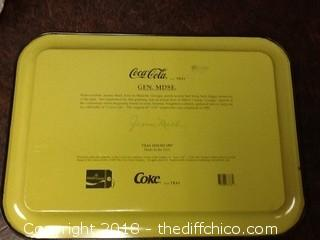 coca cola polar bear mug and tin tray