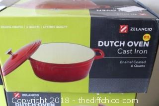 Teal 6 qt Cast Iron Dutch Oven