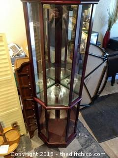 "Display Case with 4 Glass Shelves with Light - 15 5/8"" Deep and 68 3/4"" Tall"
