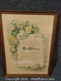 "1912 Marriage License - 15 7/8"" x 21 1/4"""