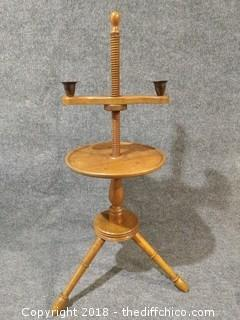 "Early 1900's Walnut Candle Stand - 34"" Tall"