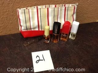 womans cosmetics bag with contents
