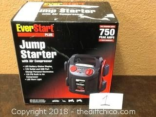everstart 750watt jump starter with air pump