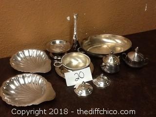 random silver dish set