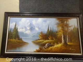 "Original Oil on Canvas Painting Signed by Artist - Quality Solid Wood Frame - 56"" x 31.5"""