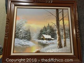 "Original Oil on Canvas Painting Signed by Artist - with Solid Mexican Pine Frame - 31"" x 27"""