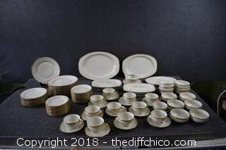 Over 80 Pieces of Wilshire TK Thuny Gold Trim Dishes from Czechoslovakia