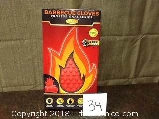 new in box red bbq gloves
