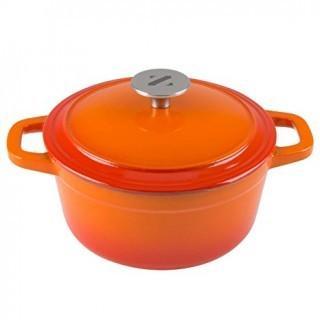6 Qt Round Cast Iron Dutch Oven in Orange R12