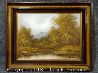 "Vintage Oil Painting Signed by Artist - Solid Mexican Pine Frame with Brown Velvet - 21"" x 17"""