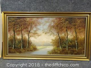 "Vintage Oil Painting Signed by Artist - 35.5"" x 19.5"""