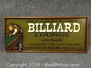 "Old-Fashion Pool Hall Vibe - Billiard's Sign - 27"" x 12"" - Man/Table are 3D"