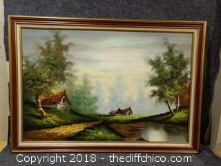 "Vintage Oil Painting Signed by Artist - 40"" x 28"""