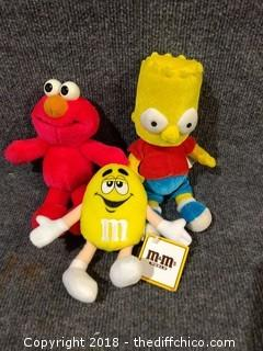 "Collectible Plush Toys - Homer 11"", M & M 7"" , Elmo 9"""