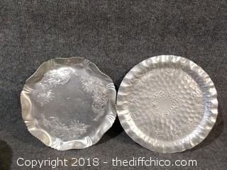 "2 Forged Aluminum Trays - 12"" and 13.5"" - Vintage"