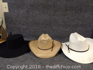 3 Cowboy Hats Sizes 7, 7.5 and 1 unmarked