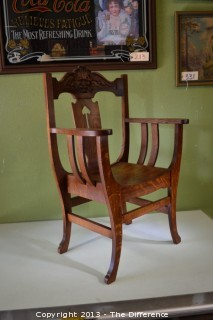 Vintage Tiger Oak Throne Chair